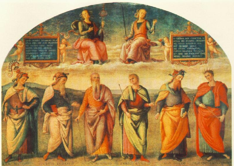 PERUGINO, Pietro Prudence and Justice with Six Antique Wisemen