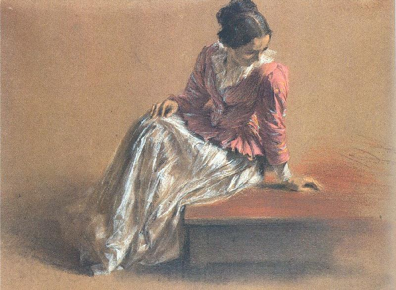Adolph von Menzel Costume Study of a Seated Woman: The Artist's Sister Emilie