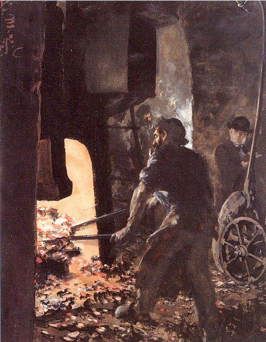 Adolph von Menzel Self-Portrait with Worker near the Steam-hammer