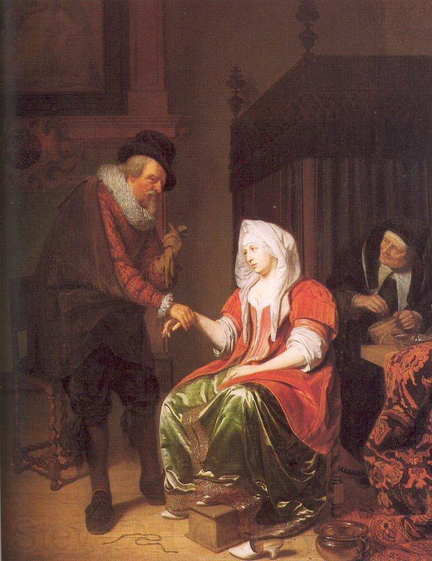Musscher, Michiel van Doctor Taking a Young Woman's Pulse