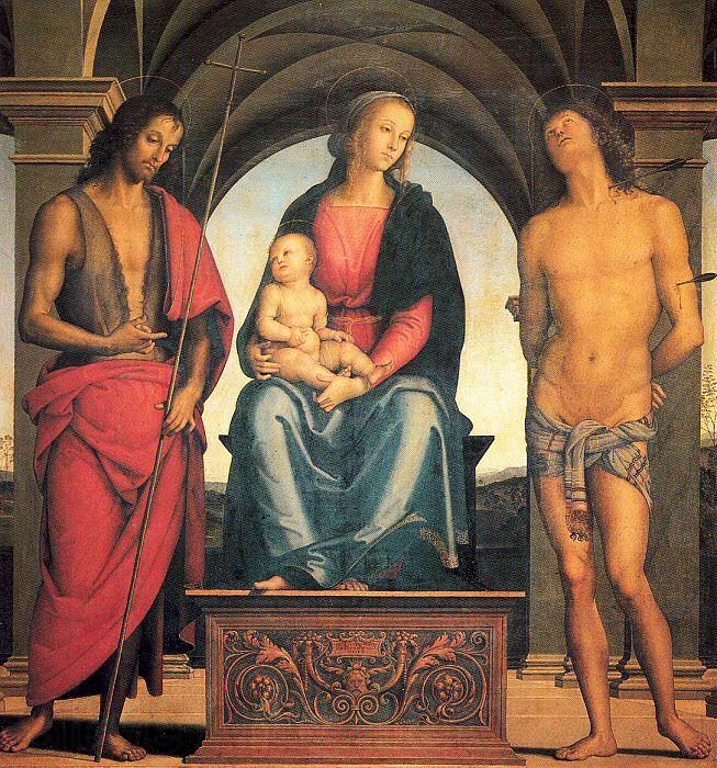 PERUGINO, Pietro Madonna and Child with Saints John the Baptist and Sebastian