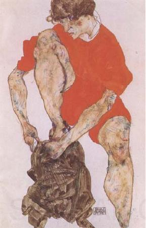 Egon Schiele Female Model in Bright Red Jacket and Pants (mk09)
