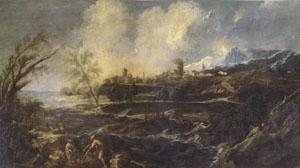MAGNASCO, Alessandro Landscape with a Man Moving a barrel beside the Shore (mk05)