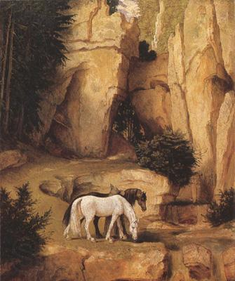 Moritz von Schwind A Hermit Leading Horses to the Trough (mk22)