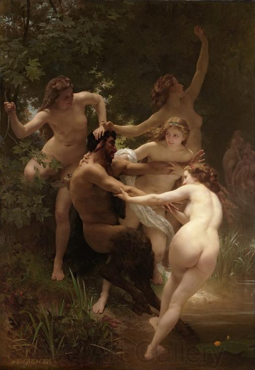 Adolphe William Bouguereau Nymphs and Satyr (mk26)