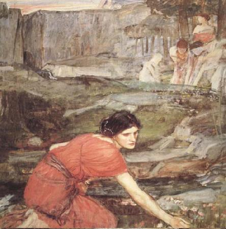 John William Waterhouse Study:Maiidens picking Flowers by a Stream (mk41)