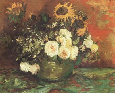 Vincent Van Gogh Bowl with Sunflowers,Roses and other Flowers (nn040