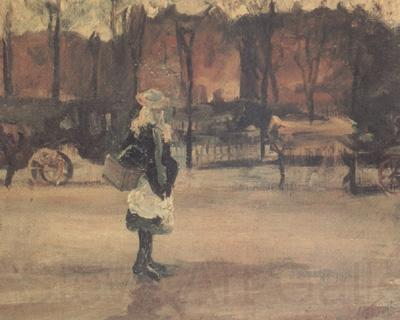 Vincent Van Gogh A Girl in the Street,Two Coaches in the Background (nn04)