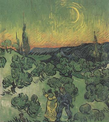 Vincent Van Gogh Landscape with Couple Walking and Crescent Moon (nn04)