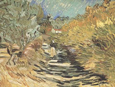 Vincent Van Gogh A Road at Sain-Remy with Female Figure (nn04)